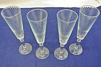 CHAMPAGNE GLASSES, DIMPLED GLASS, LOT OF 4, UNKNOWN MAKER