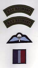 ROYAL AIR FORCE RAF REGIMENT 3 PIECE BADGE SET TITLES SUBDUED/PARA WINGS/TRF