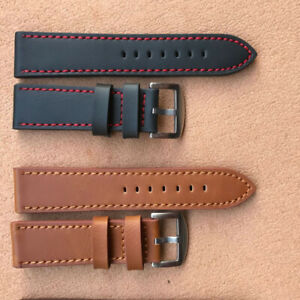 18/20/22/24mm Watch Band Replacement Leather Strap Watch Band Pin Buckle Belt