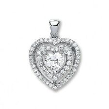"""Sterling Silver Heart Cz Pendant with Two Row of Cz's,16""""-18"""",SPD0236"""