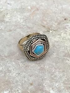 Barse Multiplicity Ring-Mixed Metals & Turquoise- 8.75-New With Tags