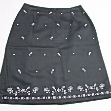* Talbots Skirt  sz 10  Womens Black Textured Cotton Embroidered Floral