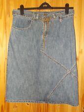 ANIMAL  mid-blue denim faded aged midi knee long straight pencil skirt 14 42