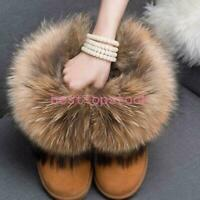 Women's Anti-SKID Winter Ankle Snow Boots Real RACCOON FUR Lined Shoes Sz