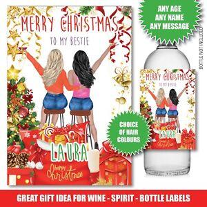 Personalised Christmas Bottle label Gin Wine Vodka Best Friend Sister Santa171