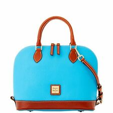 Dooney & Bourke French Sky Blue Pebbled Leather Zip Zip Dome Satchel Purse