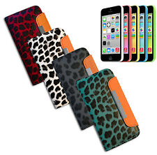 FLIP COVER PORTE MONNAIE COMPATIBLE POUR IPHONE 5 AIMANT LEOPARDÉ 4 COLORI