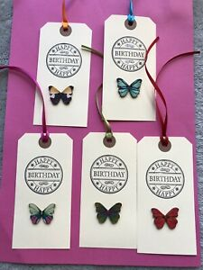 5 X HANDMADE LARGE CREAM HAPPY BIRTHDAY BUTTERFLY GIFT TAGS