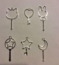 6 Piece Bunny Rabbit, Star, Heart, Cat, Moon Key Bezel For Epoxy And Uv Resin