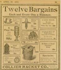 Galveston Texas Advertising Collier Racket Co Flour Bin Brooms Soap Clock 1900