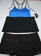 Jag NWT Women's 2 Pc. Colorblock Swimsuit Racer Tank w/ Shorts Bottoms