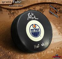 GRANT FUHR Signed & Inscribed Edmonton Oilers Vintage Logo Puck