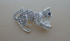 Clear Crystal Cat, Kitten Brooch, Silver Plated
