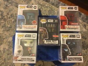 (5) Star Wars Funko Mandalorian chrome,Shadow Trooper,Boba Fett,Malak,Two-stripe