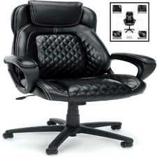 Ofm Ess Collection Racing Style Softhread Leather High Back Office Chair In Blac