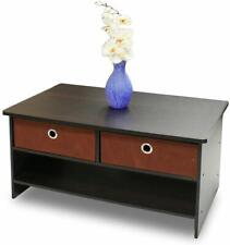 Furinno Black Wooden Coffee Table with 2 Espresso Coloured Drawers