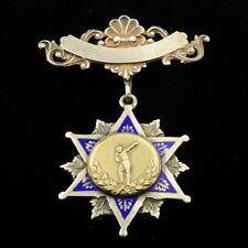 Silver Enamel ShotPut Medal Antique Gold On Sterling
