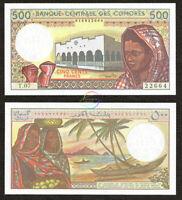 COMOROS 500 Francs 1994 P-10 b SIGN 1 UNC Uncirculated