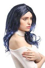 Peluca Mujer Carnaval Negro Azul con mechas ondulado escalonado Raya en medio