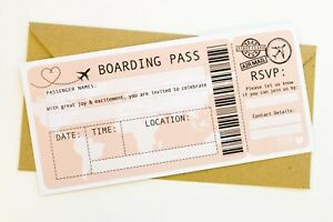 Pack of 10 Ready To Write Boarding Pass Wedding Invitations & Envelopes