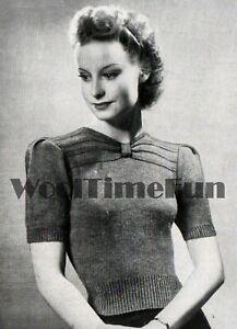 Knitting Pattern Vintage 1940s Ladies Draped Neck Jumper. Long or Short Sleeves.