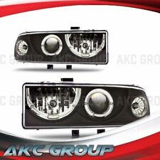 Black Housing LED Halo Projector Headlights For 98-04 Chevy S10 98-05 Blazer