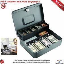 Key Locking  Cash Stash Box Money Jewelry Coins Storage Security Mini Safe Tray