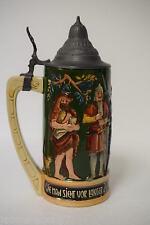 Rare Antique Reinhold Hanke 1462 Hand Painted Stoneware .5 Liter German Stein
