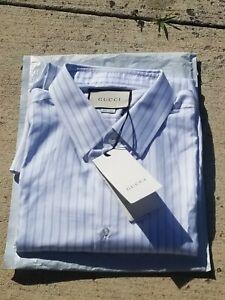 NWT Gucci Men's Light Blue Striped Dress Business Shirt Casual $650 LG SZ 18