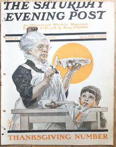 "1908 SATURDAY EVENING POST COVER  "" Boy Watching Grandmother  "" ILLUSTRATION Art"