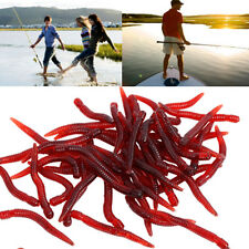 50 X Soft Red Earthworm Fishing Bait Worm Lures Crankbaits Hooks Baits Tackle L7