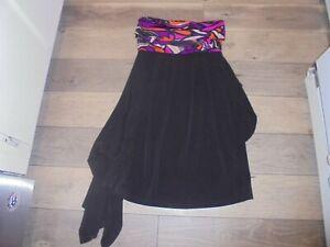 NWOT Maternal America stylish black tunic dress with multi colored fold down M