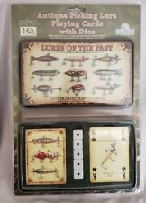 Antique Fishing Lure Playing Cards with dice in storage tin
