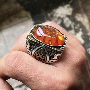 Sterling Silver Amber Men's Ring Unique Extraordinary Statement Artisan Jewelry