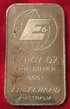 "ENGELHARD AUSTRALIA 1 oz Silver Bar - Series 3 Small ""G"" - Very Nice Example!"