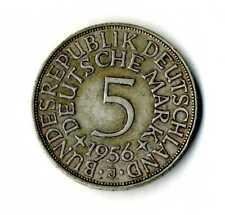 Moneda Alemania 1956 J 5 marcos plata .625 silver coin Deutsche Marck