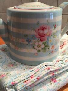 Greengate Teekanne Marie Pale Blue,Rarität,neu,Rosen,Jane Austen