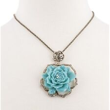 MARISA JILL Blue Rose Necklace NEW Charm Flower Pendant Womens Chain Fashion
