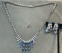 Icy Necklace/Earring Set Blue Baguette Rhinestones Dangling Screwback Earrings