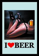 I love Beer Pin Up Girl Motiv 1 Nostalgie Barspiegel Spiegel Bar Mirror 22x32 cm