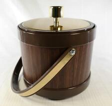 Vintage Mid-Century Kromex Ice Bucket Faux Walnut Wood Grain Gold Trim NEW