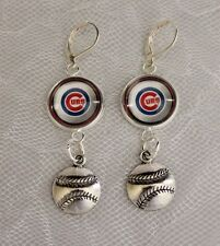 Chicago Cubs Earrings W Baseball Charm Upcycled From Cards Handmade