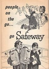 1965 SAFEWAY GROCERY STORE AD~HOCKEY PLAYERS~PEOPLE ON THE GO~SHOPPERS~FOOD