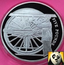 2004 ALDERNEY £5 Five Pound Locomotive Steam Age Engine Man Silver Proof Coin