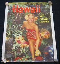 60s Original Poster Hawaii by Flying Clipper Hula Girl Photo (Hol)#22