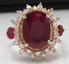 6.00 Carats Natural Red Ruby and Diamond 14K Solid Yellow Gold Ring