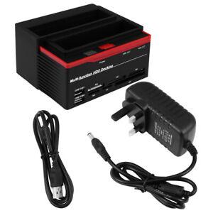 HDD Docking Station IDE SATA Dual USB 2 Disk Clone Hard Drive Card Reader Media