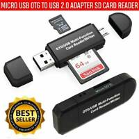 Micro USB OTG to USB 2.0 Adapter SD Card Reader For Android Phone Tablet PC NEW