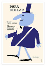 """Movie Poster for Hungarian film""""Papa DOLLAR""""Purple Rich Guy.Funny graphic.Decor"""