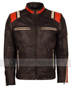 Mens Distressed Vintage Fashion Retro Biker Leather Cafe Racer Jacket